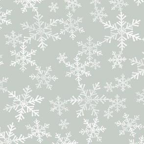 Lino Print Snowflakes | White Snowflakes on Light Gray Green