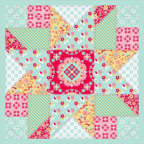 Eden's Garden Collection in Bright Quilt Block