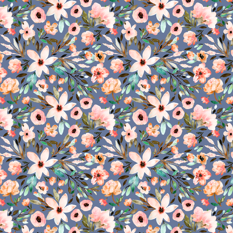 Indy Bloom Design MAE Azurite A fabric by indybloomdesign on Spoonflower - custom fabric