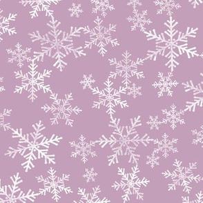 Lino Print Snowflakes | White Snowflakes on Mauve