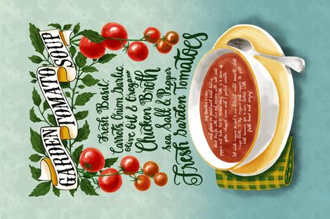 Garden Tomato Soup - Recipe Tea Towel fabric by new_branch_studio on Spoonflower - custom fabric