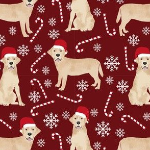 yellow lab fabric, yellow labrador fabric - yellow lab quilt fabric, yellow lab dog fabric, christmas fabric, christmas fabric by the yard, dog christmas -burgundy