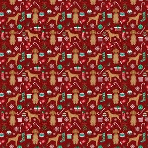 MINI - vizsla dog christmas print - christmas fabric, dog, dogs, dog breed, candy cane, presents xmas