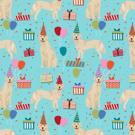 golden retreiver birthday fabric - blue fabric by petfriendly on Spoonflower - custom fabric