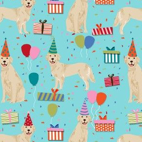 golden retreiver birthday fabric - blue