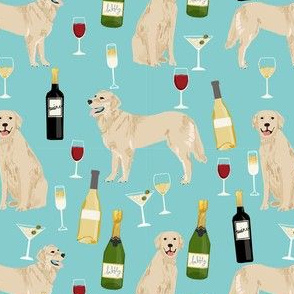 golden retriever fabric - golden retriever fabric uk, golden retriever fabric by the yard, dog fabric, dog fabric by the yard, wine, wine fabric, wine fabric by the yard,  dogs and wine, wine dog fabric, - blue