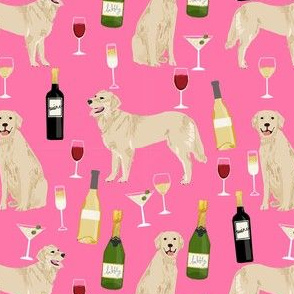 golden retriever fabric - golden retriever fabric uk, golden retriever fabric by the yard, dog fabric, dog fabric by the yard, wine, wine fabric, wine fabric by the yard,  dogs and wine, wine dog fabric, -pink