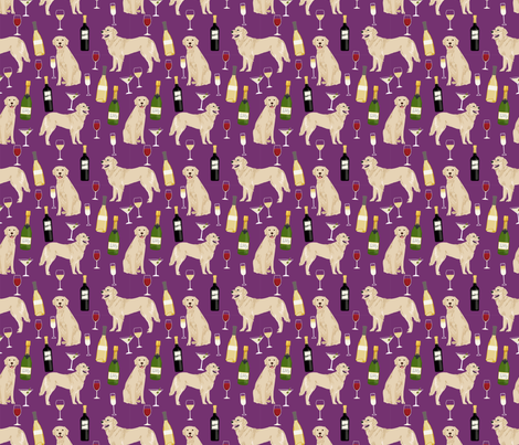 golden retriever fabric - golden retriever fabric uk, golden retriever fabric by the yard, dog fabric, dog fabric by the yard, wine, wine fabric, wine fabric by the yard,  dogs and wine, wine dog fabric, - purple fabric by petfriendly on Spoonflower - custom fabric