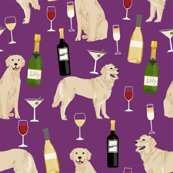 golden retriever fabric - golden retriever fabric uk, golden retriever fabric by the yard, dog fabric, dog fabric by the yard, wine, wine fabric, wine fabric by the yard,  dogs and wine, wine dog fabric, - purple