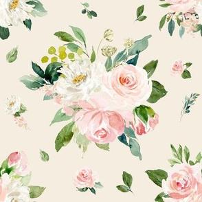 "8"" Eternal Blush Florals // White Linen"