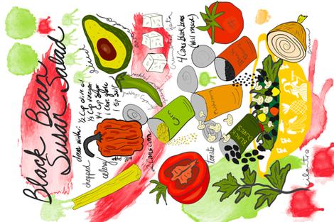 Black Bean Salad fabric by orangefancy on Spoonflower - custom fabric