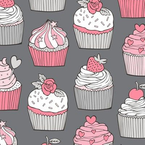 Cupcakes with strawberry,cherries,flower&hearts Pink on Grey Larger 3 inch