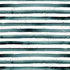 Watercolor Stripe + Gold Dots Teal