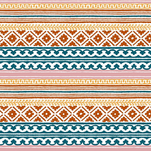 Ethnic woodblock stripe-9in.