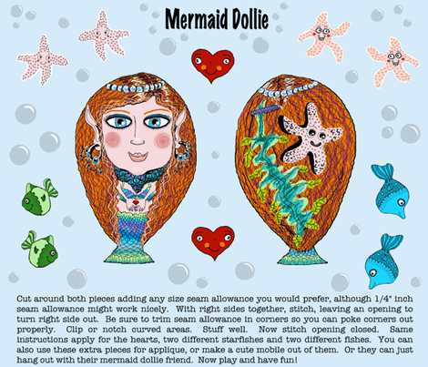 cut and sew mermaid dollie plushie softie doll pillow and sea friends fabric by amy_g on Spoonflower - custom fabric