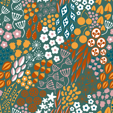 Autumn Flowers and Seeds fabric by sarahparr on Spoonflower - custom fabric