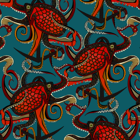 octopus ink teal tiny fabric by scrummy on Spoonflower - custom fabric