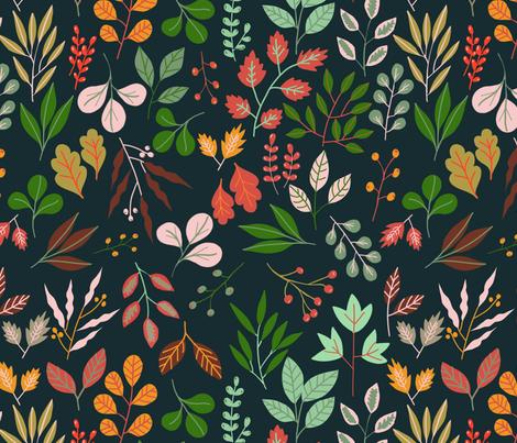 Falling for you emerald fabric by robynhammonddesign on Spoonflower - custom fabric