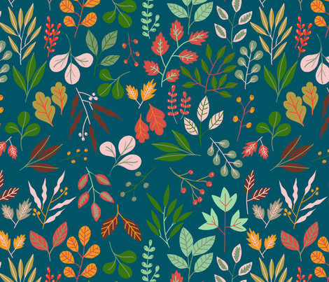 Falling for you teal fabric by robynhammonddesign on Spoonflower - custom fabric