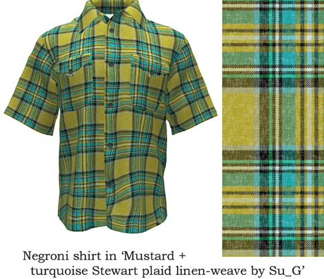 Mustard + turquoise Stewart plaid linen-weave by Su_G_©SuSchaefer