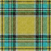 Mustard + turquoise Stewart plaid linen-weave by Su_G