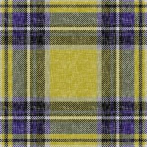 Mustard + purple Stewart plaid linen-weave by Su_G