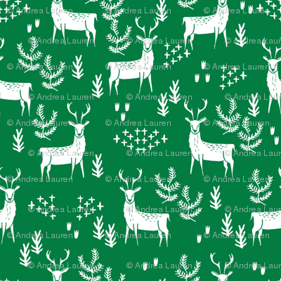 deer fabric by the yard - nursery fabric by the  yard, nursery fabric, cute woodland deer design by andrea lauren -  green