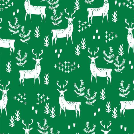 deer fabric by the yard - nursery fabric by the  yard, nursery fabric, cute woodland deer design by andrea lauren -  green fabric by andrea_lauren on Spoonflower - custom fabric