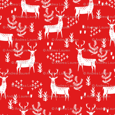 deer fabric by the yard - nursery fabric by the  yard, nursery fabric, cute woodland deer design by andrea lauren -  red