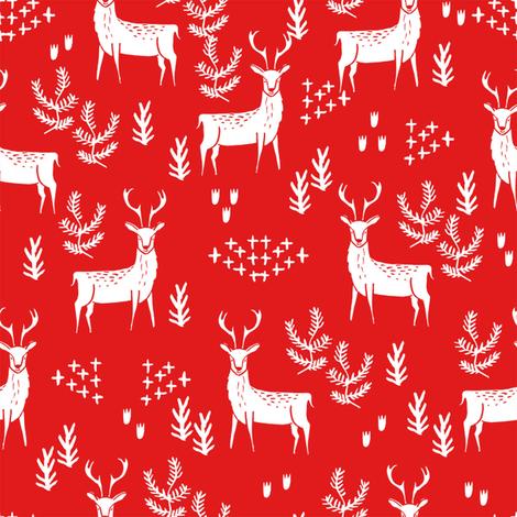 deer fabric by the yard - nursery fabric by the  yard, nursery fabric, cute woodland deer design by andrea lauren -  red fabric by andrea_lauren on Spoonflower - custom fabric