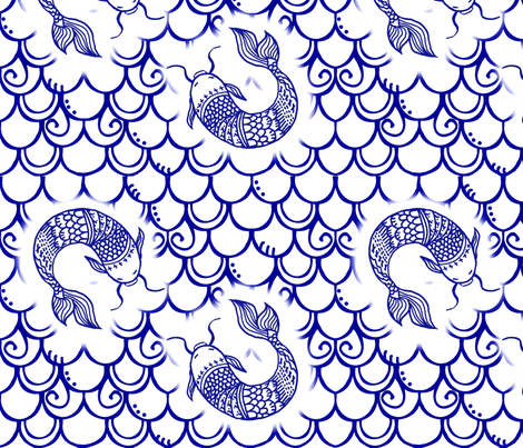 Persevere /Blue Chinoiserie   fabric by franbail on Spoonflower - custom fabric