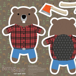 Benny Beaver Cut and Sew Plushy Pillow