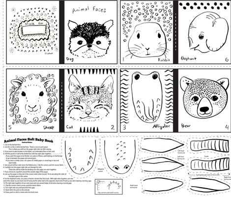 animal faces baby book fabric by ghouk on Spoonflower - custom fabric