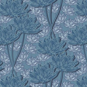 Woodcut Floral  Denim