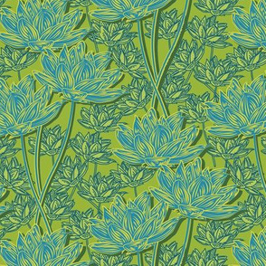 Woodcut Floral Grass