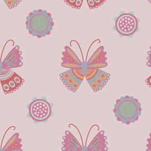 Vintage Garden Butterfies Pink