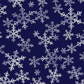 Midnight Blue and White Lino Print Snowflakes Pattern