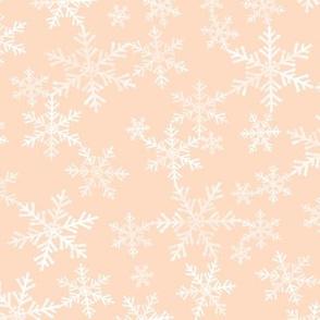 Lino Print Snowflakes | White Snowflakes on Peach/Apricot