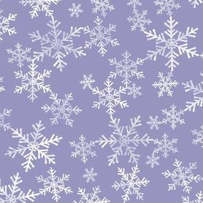 Lino Print Snowflakes | White Snowflakes on Periwinkle