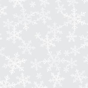Lino Print Snowflakes | White Snowflakes on Soft Silver Gray