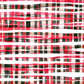Hand Painted Rustic Plaid Check in Red, Black and White
