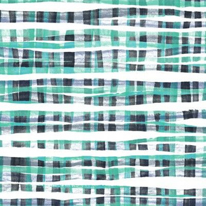 Hand Painted Rustic Plaid Check in Green, Grey and White