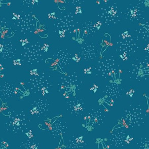 Ditsy Flowers Teal