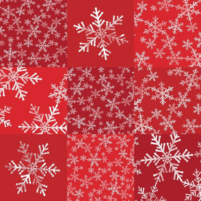 Red and White Christmas Snowflakes Wholecloth Cheater Quilt