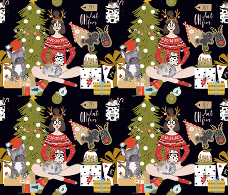 Scottish Christmas Chaos Oh what Fun! fabric by floramoon on Spoonflower - custom fabric