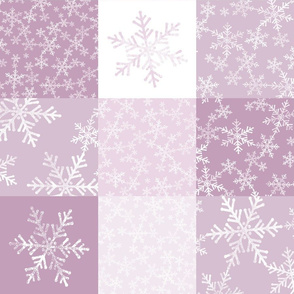Pink/Mauve + White Christmas Snowflakes Wholecloth Cheater Quilt