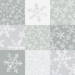 Gray Green + White Christmas Lino Print Snowflakes Wholecloth Cheater Quilt - Gray and Gray Green