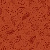 Rust Autumn Leaves and Acorns