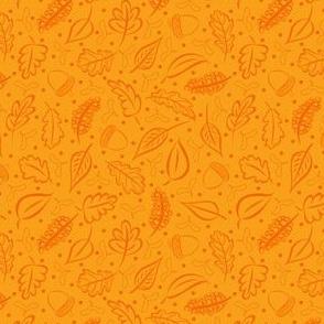 Orange Autumn Leaves and Acorns