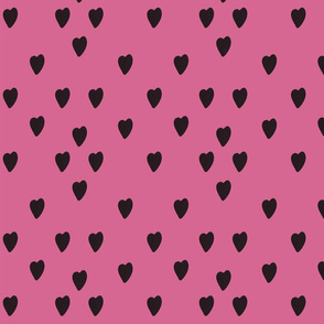Black Heart on Fuchsia Background